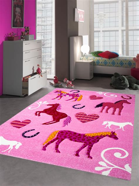 kinderzimmer teppich rosa kinderteppich spielteppich kinderzimmer teppich pferde