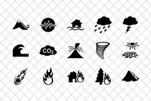 natural disasters icon set icons creative market