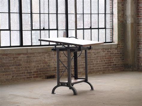 Hand Made Large Walnut Industrial Drafting Table Desk By Custom Drafting Table