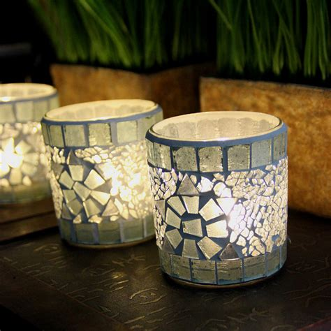 Handcrafted Decor - handcrafted mosaic glass silver cup candlestick candle