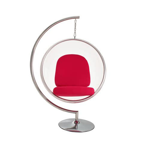 amazon com eero aarnio bubble chair with red seat cushion eero aarnio style bubble chair w stand