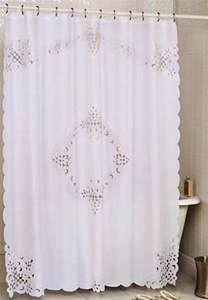 pristine white battenburg open lace fabric shower curtain