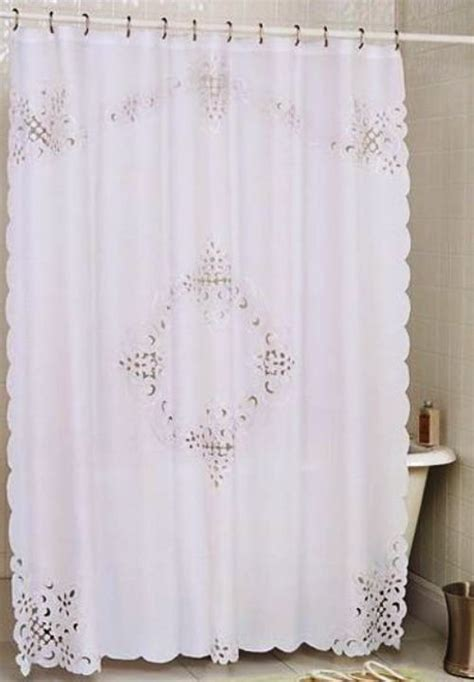 Pristine White Battenburg Open Lace Fabric Shower Curtain
