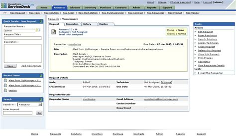 manageengine service desk support opmanager nms integration with help desk software