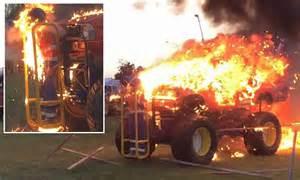 zealand girl strapped   monster truck  rammed