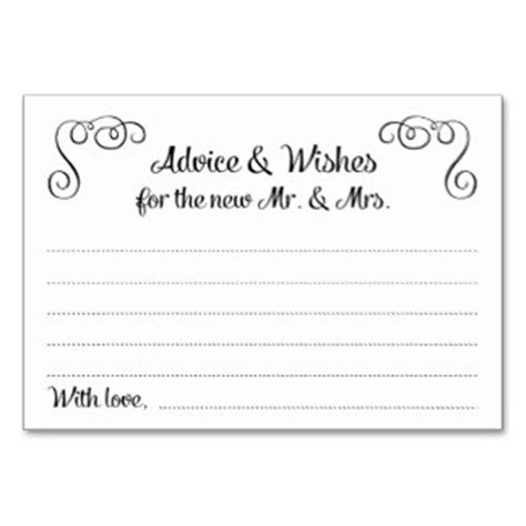 advice cards template wedding advice cards zazzle