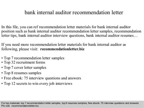 Recommendation Letter Questions Answers Bank Auditor Recommendation Letter