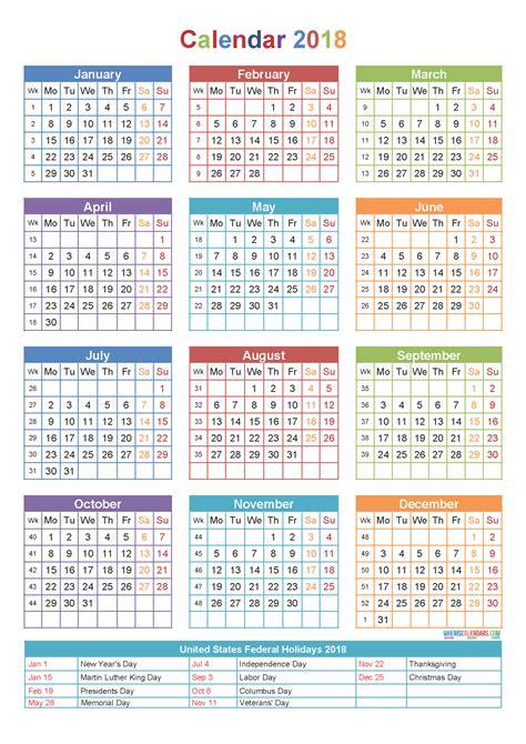 Calendar Template Pdf 2018 Calendar 2018 Template Yearly Calendar Printable Pdf Word