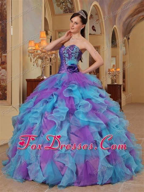 blue and purple quinceanera dresses purple and aqua blue sweetheart ruffle quinceanera dress