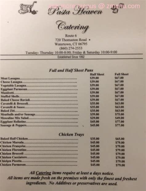 rock garden watertown ct menu of pasta heaven restaurant watertown