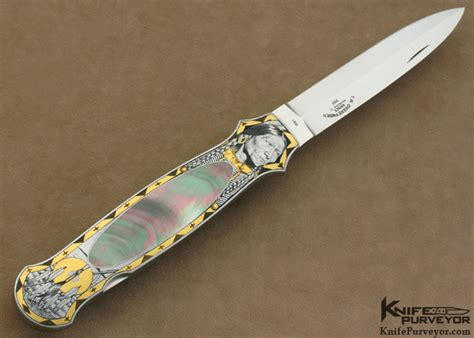 Tom Handcrafted Knives - tom overyender engraved black lip lockback knifepurveyor