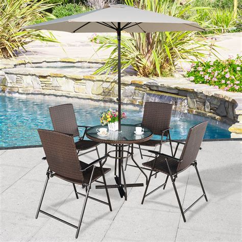 6pcs Patio Set Furniture Dining 4 Rattan Folding Chairs Patio Sets With Umbrella