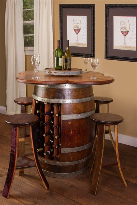 whiskey barrel kitchen table and chairs wine barrel table set with wine rack base