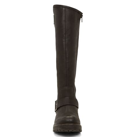 aldo beskra buckle knee high boots in brown lyst