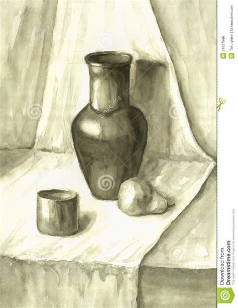 still life with drapery watercolor still life with drapery royalty free stock