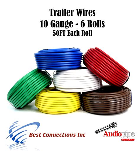 6 way trailer wires light cable for harness 50 ft each