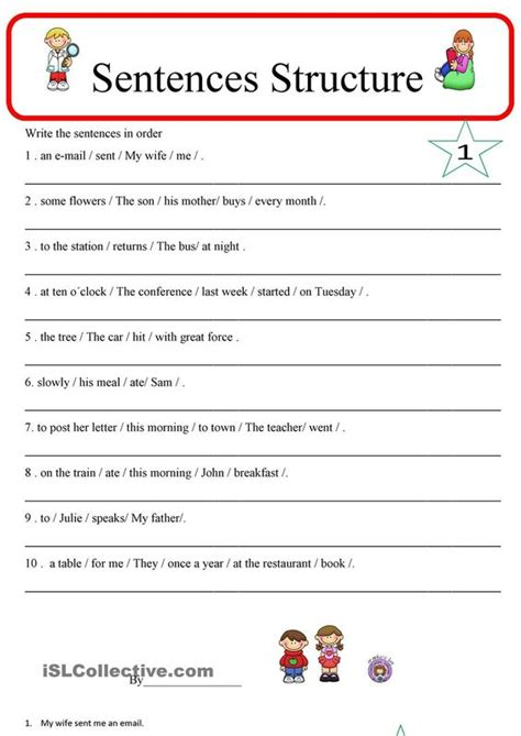 sentence pattern maker sentence structure 1 esl worksheets of the day