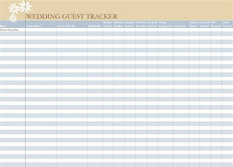 wedding spreadsheet templates wedding guest list spreadsheet wedding guest list worksheet
