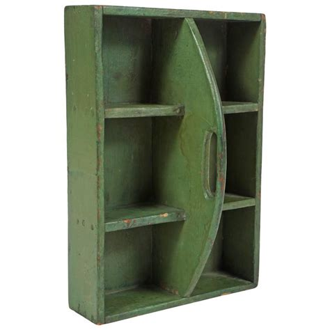 Hanging Box Shelves Small Green Hanging Shelf Tool Box For Sale At 1stdibs