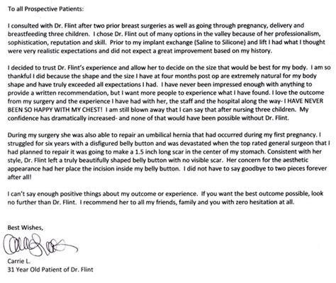 thank you letter to doctor you shadowed testimonials scottsdale plastic surgeon dr patti flint