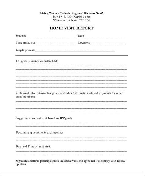 home visit form template 14 visit report templates free word pdf doc format