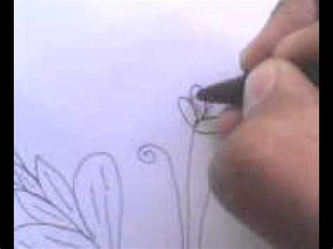 cara menggambar sketsa bunga tanpa warna by yandi musthofa
