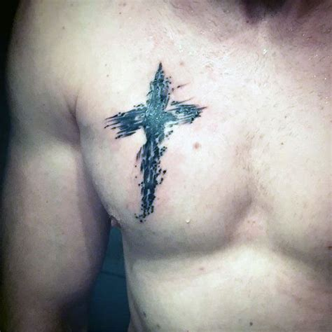 cross tattoo on left chest 100 religious tattoos for men sacred design ideas