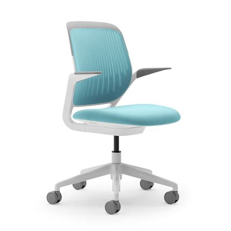 Aqua Cobi Desk Chair With White Frame Modern Office Desk With Chair