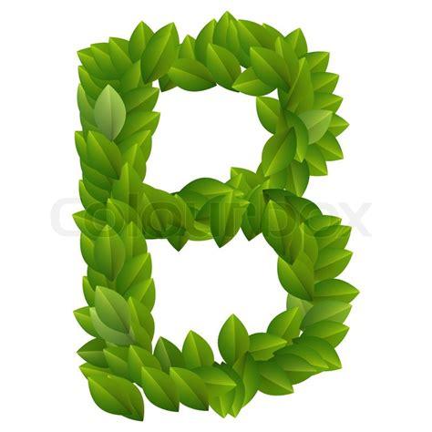 letter b of green leaves alphabet stock vector colourbox
