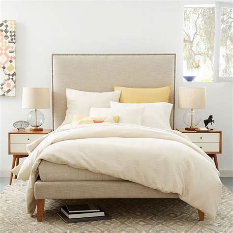 headboard legs tall nailhead tapered leg bed linen weave