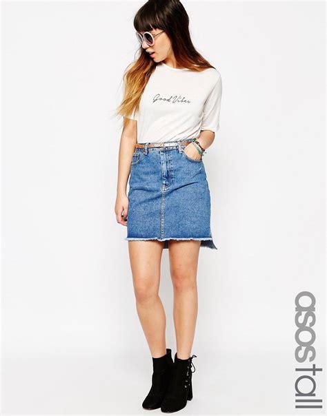 asos asos denim skirt with stepped hem at asos