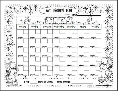 printable january reading log learning to be writers and readers in the 21st century