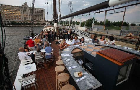 boat bar brooklyn bridge park schooner the better floating restaurant opens off pier 6