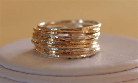 Handmade Silver And Gold Rings - set of 9 handmade sterling silver and 14k gold fillled
