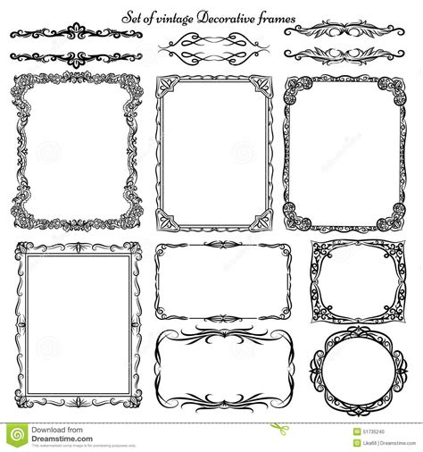 how to create a vector decorative frame in illustrator set of vintage decorative borders and frames stock vector