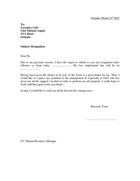 Resignation Letter For Personal Reasons Notice Resignation Letter Format Letter Of Resignation