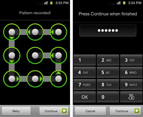 pattern pin or password tip setting up a screen lock on the galaxy s ii pattern