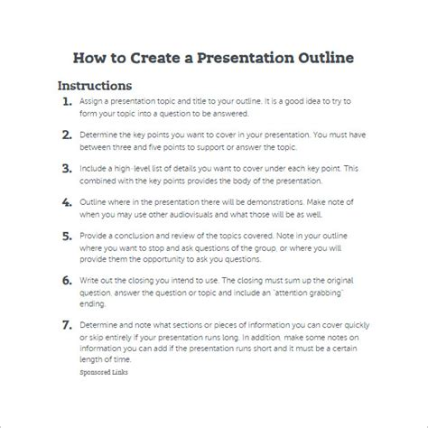 7 presentation outline templates free ppt word pdf