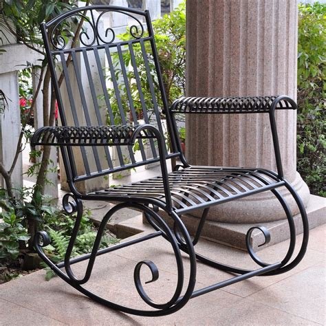 Metal Patio Rocking Chairs Metal Iron Outdoor Rocking Chair Retro And 50 Similar Items