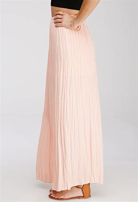 forever 21 m slit pleated maxi skirt in pink lyst