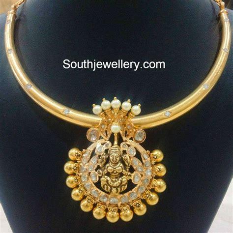 Antique Necklace with Lakshmi Pendant   Jewellery Designs