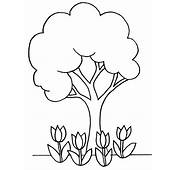 Flowers And Tree Plant Coloring Page  Sky