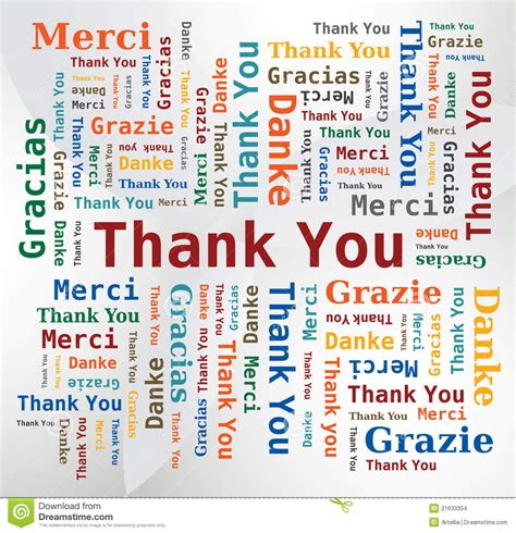 Thank You Letter To Language Arts Word Cloud Thank You In 5 Languages Stock Images Image 21633354