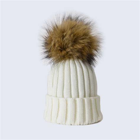 Pom Pom Hat pink hat with grey faux fur pom pom 187 amelia