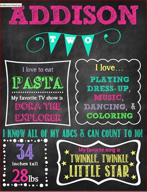 Second Birthday Chalkboard Poster Digital Poster Sign With Milestones On Etsy 20 00 Party 2nd Birthday Chalkboard Template