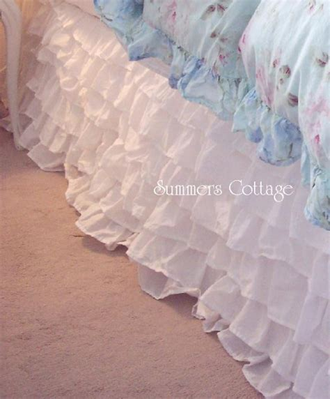 dreamy white ruffles shabby cottage chic bed skirt queen