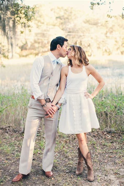 short wedding dresses  cowboy boots  stylish bridal