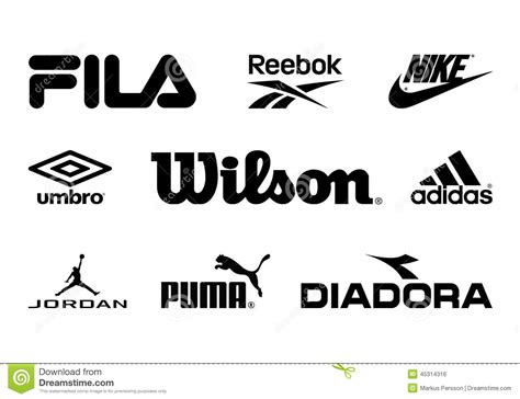 sports shoes logos and names sport brands editorial photo garden tools