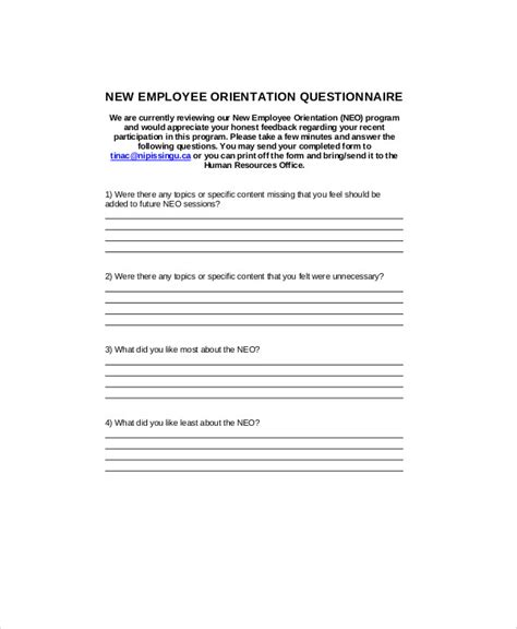 new employee orientation survey questions pertamini co