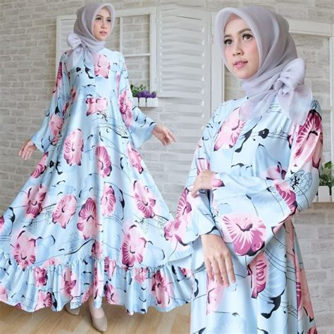 Gamis Katun Rempel Cantik Motif Bunga Besar Polykatun baju maxi maxmara terbaru gamis remaja cantik